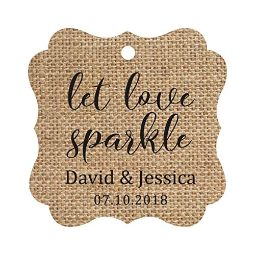 Darling Souvenir Personalized Fancy Frame Paper Tags Wedding Sparklers Let Love Sparkle Custom Hang Tags-Burlap-100 Tags -