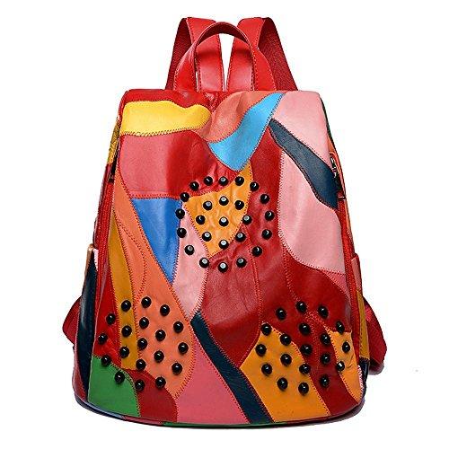 Aoligei Rivet loisirs cuir sac version coréenne double sac à bandoulière en peau de mouton voyage sac à dos B
