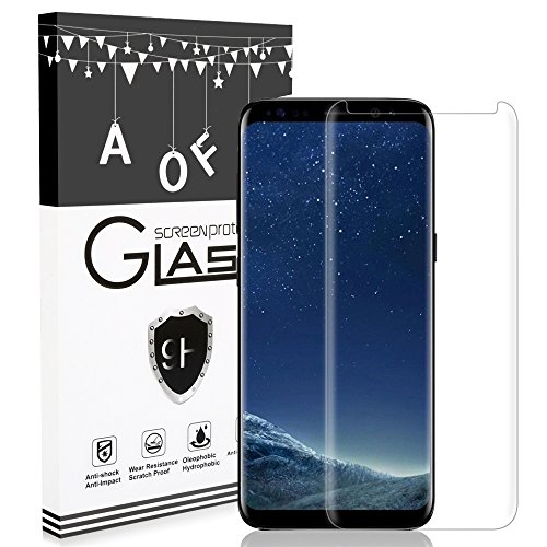 Samsung Galaxy S8 Screen Protector,AOFU Tempered Glass 3D Touch Compatible,9H Hardness,Bubble (1Pack)
