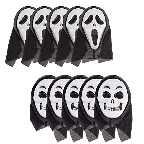 CHARMGIRL 10 Pack Halloween Ghost Masks, Horror Screaming Skull Mask Facial Props Party Cosplay Festival -