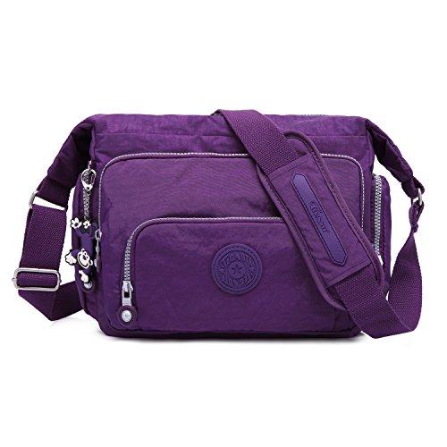 Foino Designer Shoulder Bag Women Cross Body Bag Fashion Messenger Bag Travel Side Pack Crossbody Bag for Sport Satchel Girls Bookbag Purple