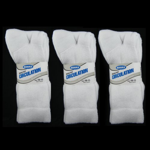 3 Pairs Diabetic Crew Circulation Socks Health Support Cotton Loose Fit Sz 10-13