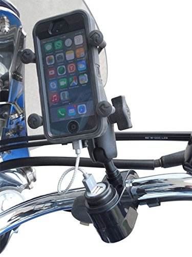 - USB Cell Phone Charging Handlebar Mount with 1