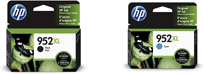 HP 952XL Black Ink Cartridge (F6U19AN) & 952XL Ink Cartridge Cyan (L0S61AN)