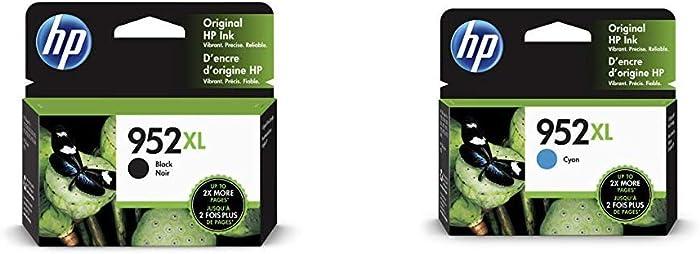 HP 952XL Black Ink Cartridge (F6U19AN) & 952XL Ink Cartridge Cyan (L0S61AN)