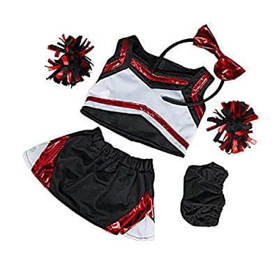 Metallic Red & Black Cheerleader Teddy Bear Clothes Outfit Fits Most 14