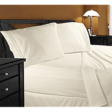 Clara Clark Premier 1800 Series 4pc Bed Sheet Set - Queen, Beige Cream,