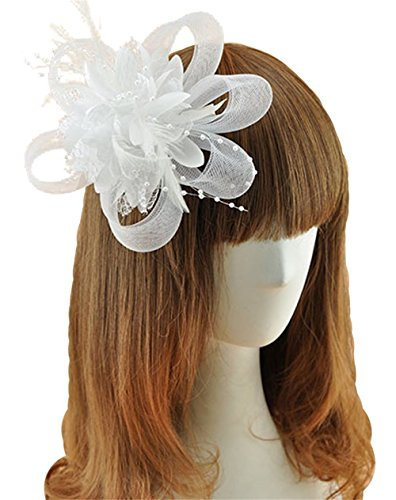 White Hats And Fascinators (Coolr Fascinator Hair Clip Cocktail Headwear Flower Bridal Headpieces (White ))