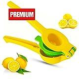 igadgea Lemon Squeezer Aluminum Hand Juicer Citrus Lemon Lime Press Squeezer, Premium Quality Metal Hand Press Manual Lemon Juicer, Yellow