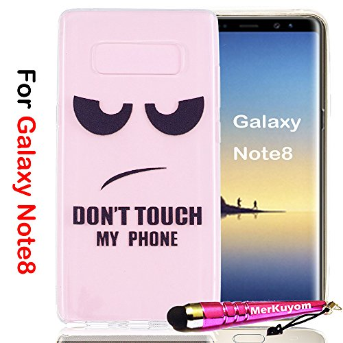 Galaxy Note8 Case, Note8 Cover, MerKuyom [Clear Transparent] [Slim-Fit] Flexible Gel Crystal Soft TPU Case Skin Cover For Samsung Galaxy Note8 Note 8 , W/ Stylus (Fun Eyes DON'T TOUCH MY PHONE) (Rainbow Leopard Bling)