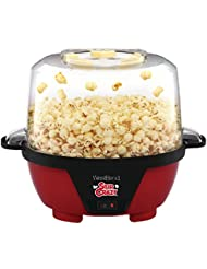 West Bend 82505 Stir Crazy Electric Hot Oil Popcorn Popper Machine with Stirring Rod Offers Large Lid for Serving Bowl and Convenient Storage, 6-Quarts, Red