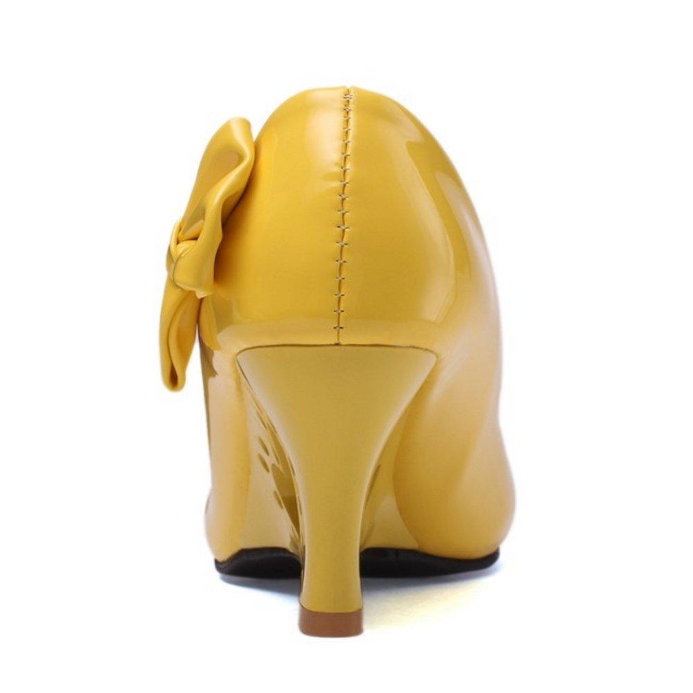 FANIMILA Women Fashion Slip On Strange Heel Pumps with Bowknot