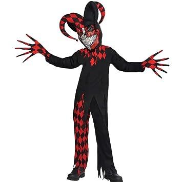 Christys London Disfraz Bufón demente para niños y Adolescentes en Varias Tallas Halloween