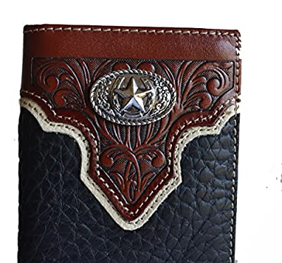 Stony west lone star concho tooled long men men's bifold leather wallet