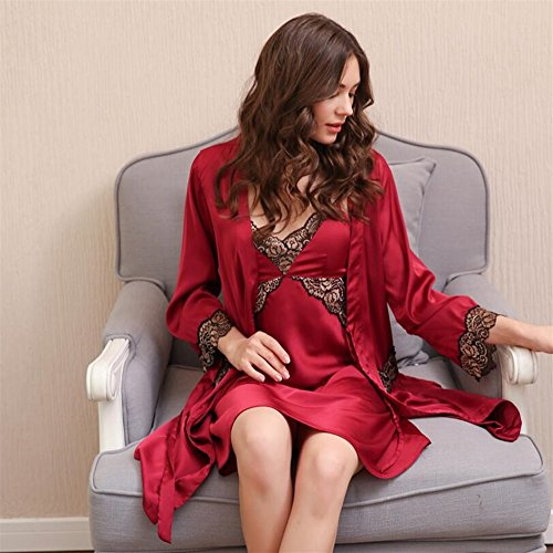 BOBOJW da rilassante large notte sexy donna Red Dress camicia con set vestaglie strap Grey da morbido ATArEwq