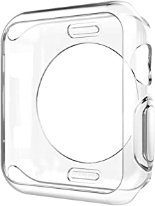 Hankn Compatible with Apple Watch Case Series 6 5 4 SE 44mm 40mm /Series 3 2 1 38mm 42mm, Soft TPU Plated Cover Scratch-Proof Protective Iwatch Bumper [No Front Screen Protector] (Clear, 42mm)