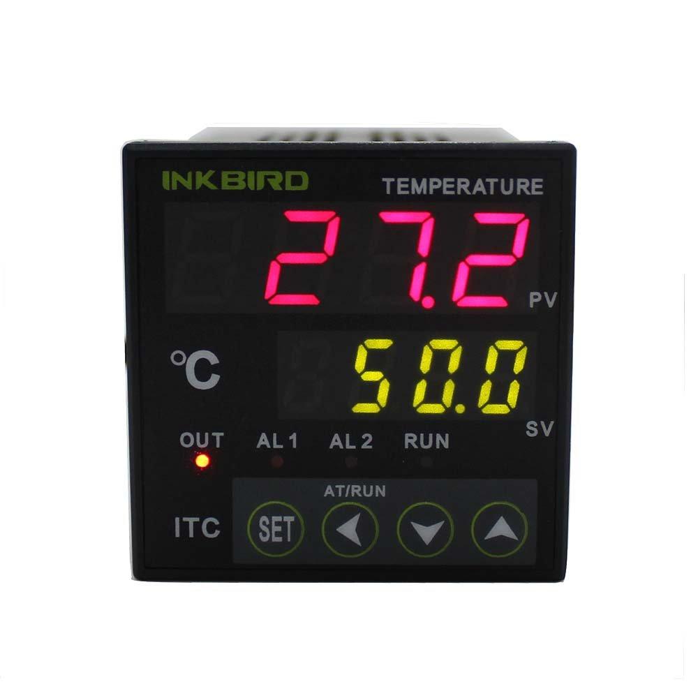 Inkbird Doble Rele 220v PID Termostato Digital ITC-100VH, Calentando y Enfriando Temperatura Control para Bomba de Agua Acuario Nevera Coche + K Sonda + 25/40A SSR+ Radiador Negro Inkbird Tech CECOMINOD004404