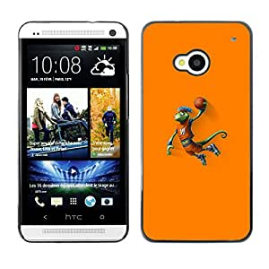 LECELL--Funda protectora / Cubierta / Piel For HTC One M7 -- Baloncesto camaleón Lagarto --