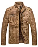 Wantdo Men's Casual Winter Warm Leather Coat Jacket Lamb Wool Lined(Yellow,S)