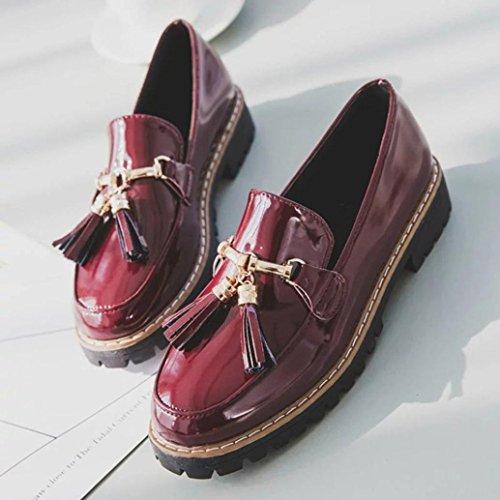 Elevin (tm) 2018 Femmes Rétro Style Preppy Glisser Sur Gland En Cuir Verni Plate-forme Mocassins Chaussures Oxford Rouge