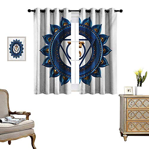 WinfreyDecor Chakra Thermal Insulating Blackout Curtain Vintage Style Power Sign Graphic Sacred Center of Vital Energy Cosmos Yoga Meditation Patterned Drape for Glass Door W55 x L39 Blue Gold