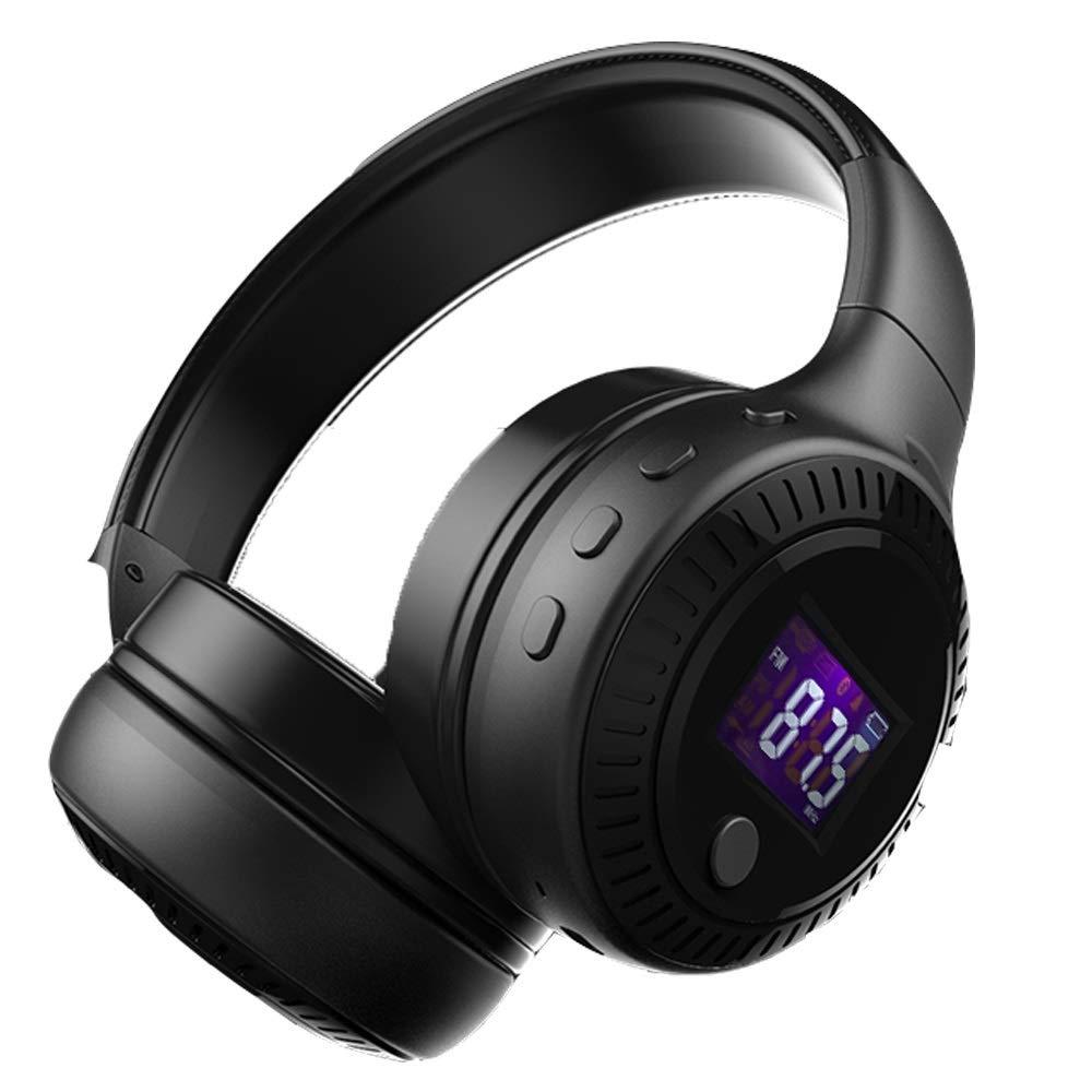 ヘッドセットワイヤレスBluetoothヘッドセットヘビーベース高音質インテリジェントノイズリダクションスポーツユニセックス18 * 16.4 cm (Color : Black, Size : 18*16.4cm)   B07R6GM4YF
