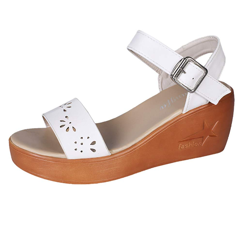 Women's Wedges Hollow Sandals Buckle Ankle Strap Open Toe Shoes Girls Summer High Platform Dress Shoes Size 5-7.5 (US:5, White)