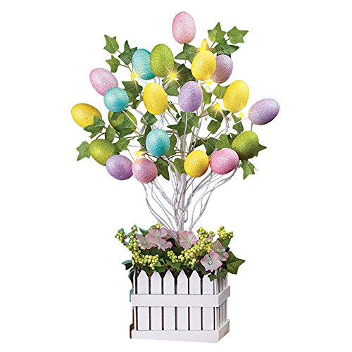 Lighted Easter Egg Floral Tree Centerpiece Decoration Tabletop