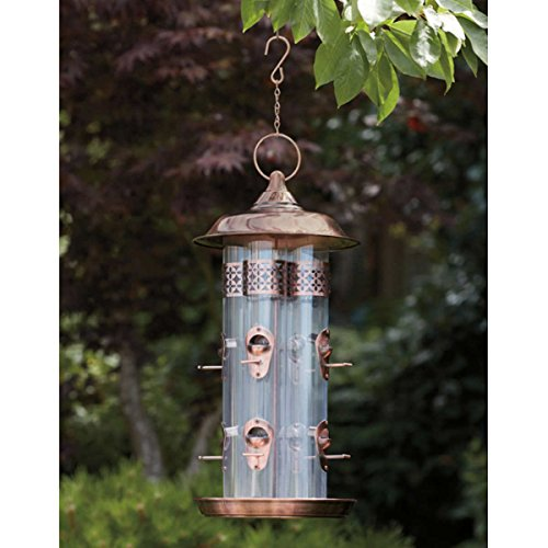 (15.6 Cups Capacity, 4 Flexi-Glass Tubes Bird Feeder with 8 Feeding Stations in Solid Steel Construction and Weather Resistant Copper-Plated)