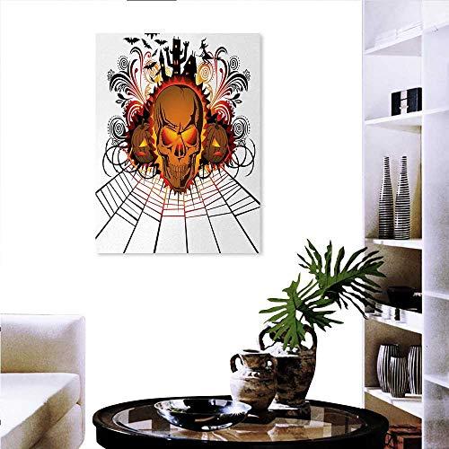 Halloween Print On Canvas Wall Decor Angry Skull