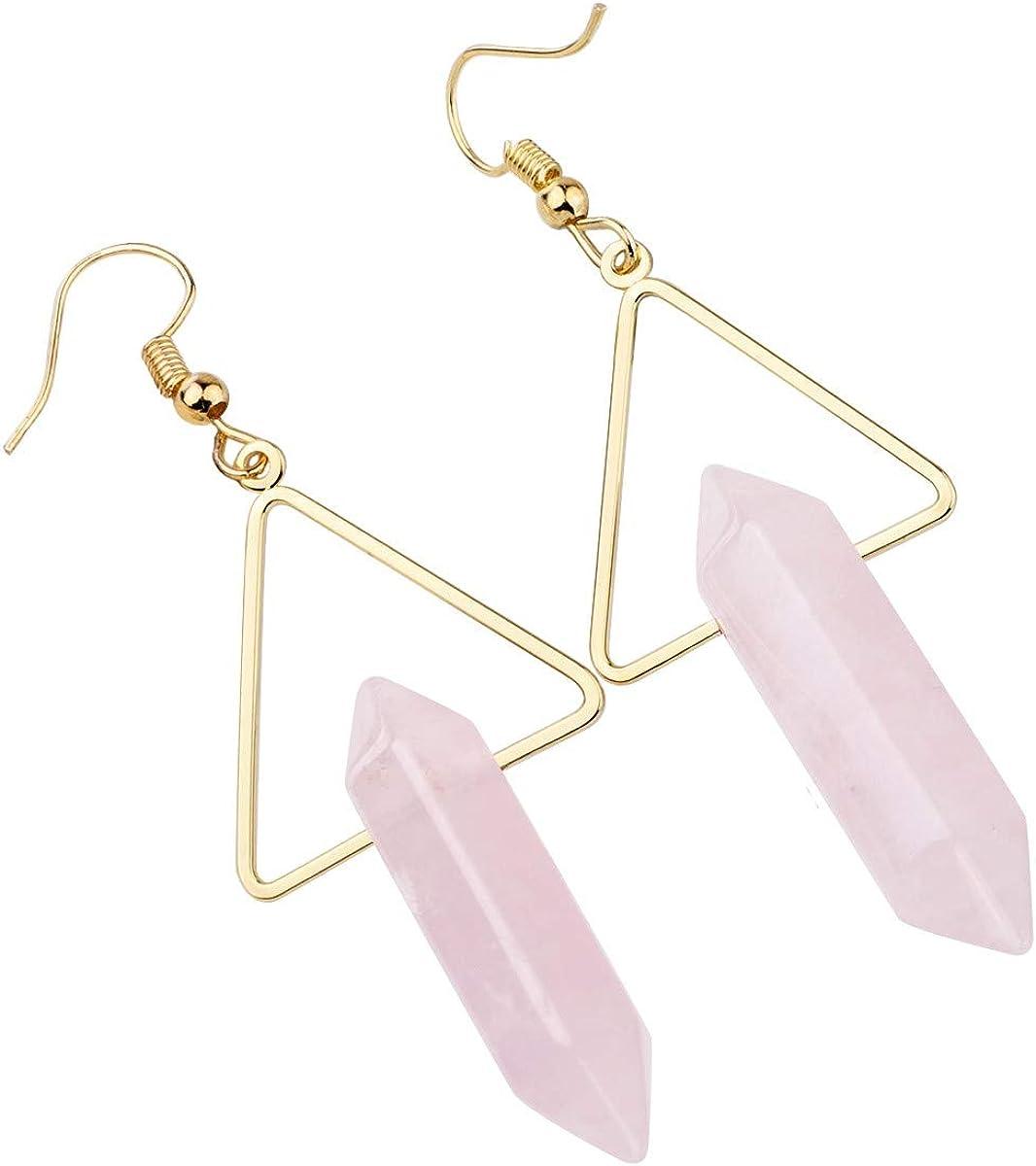 Boho Hippie Chic Style Earrings set multicolored Tourmaline Gemstone Beaded Dangle Earrings Rose /& Pink Quartz Beads Spirit Amethyst