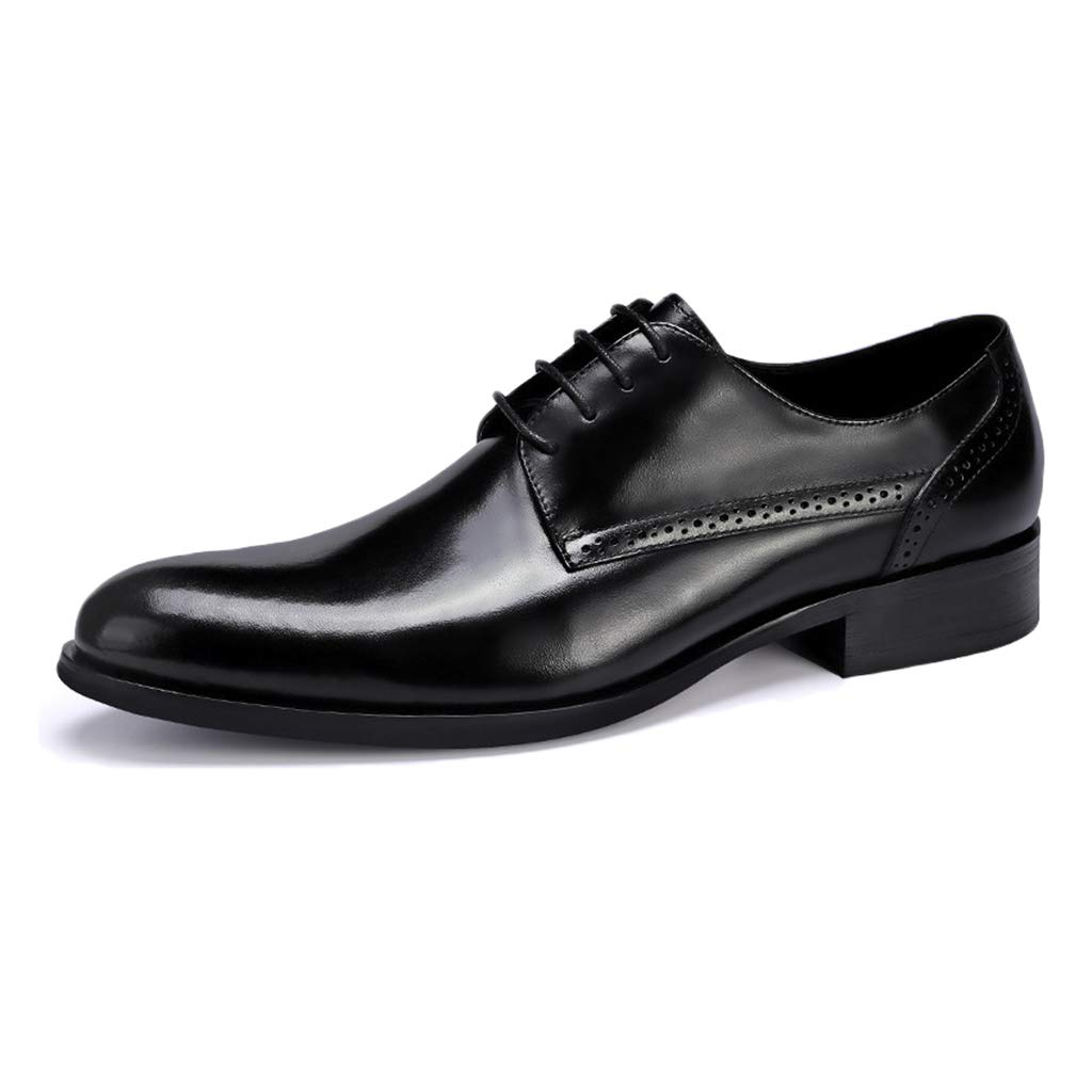 Black Men's Genuine Leather Lace-Up shoes Casual Smart Comfortable Oxford Formal shoes Business Soft Flat Driving shoes Black