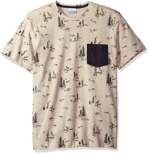 Columbia Men's Lookout Point Pocket Tee, Stone Deer Print, Large