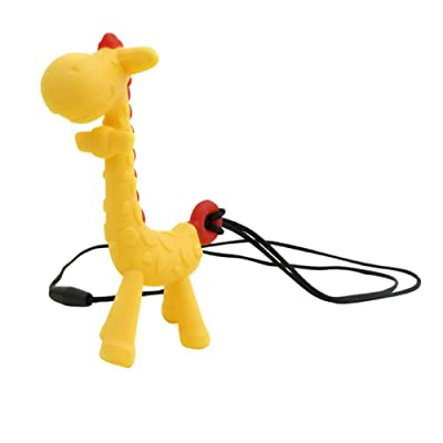 AkoMatial Baby Teether Toys, Cartoon Giraffe Pendant Mom Necklace Baby Teething Chew Silicone Teether Toy Yellow: Health & Personal Care