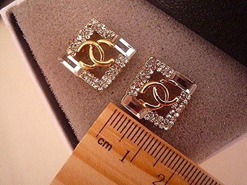 Greatmate Stylish Metallic Square Rhinestone Earrings