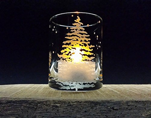 Fir Tree and Floating Flakes Votive Holder Engraved Glass Candle Holder Winter Decor Holiday Home Candle