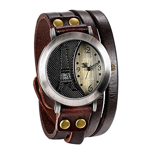 JewelryWe Mens Vintage Wrist Watch Multilayer Wrap Leather Quartz Watch Eiffel Tower Pattern Wristwatch for Halloween (Leather Cuff Watch Steampunk)
