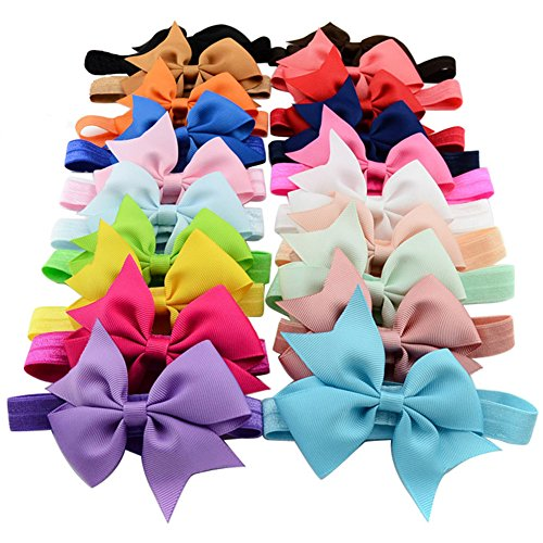 Boutique Ribbon Flower Bow Headband - QandSweet 20pcs Baby Girls Headbands and Forked Tail Bow Photography