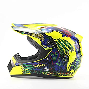 Ocamo Casco de Moto Universal, Casco de montaña Todoterreno, Casco de Carreras Amarillo Fluorescente