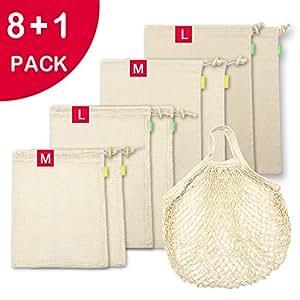 Amazon.com: Bolsas reutilizables de algodón orgánico, bolsas ...