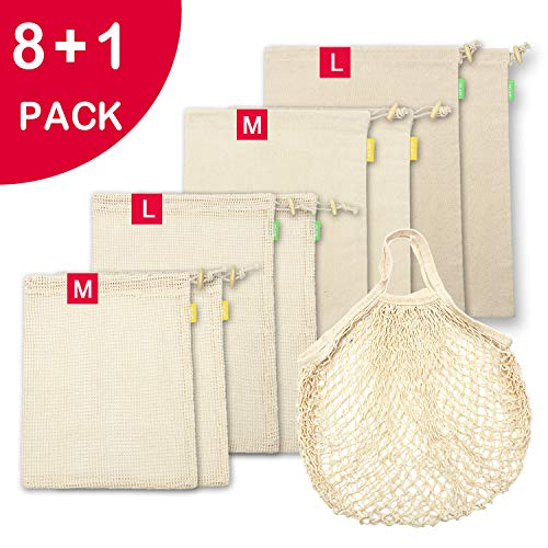 Reusable Produce Bags 9 Pcs for Grocery Shopping, Net Zero Mesh Produce Bags & Organic Cotton Muslin Bulk Bin Bags with Drawstring, Eco Veggies Fruit Bread bags, Tare Weight Tag, See-Through, -