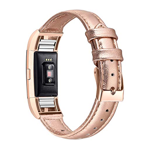 2 Gold Leather - bayite Bands Compatible with Fitbit Charge 2, Slim Genuine Leather Band Replacement Accessories Strap Charge2 Women Men, Rose Gold Small