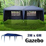 AutoBaBa Garden Gazebos, 3x6m Garden Gazebo Marquee Tent with Side Panels, Fully Waterproof, Powder Coated Steel Frame for Outdoor Wedding Garden Party, Blue