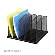 Safco Products 3256BL Onyx Mesh Desktop Organizer with 5 Vertical Sections, Black