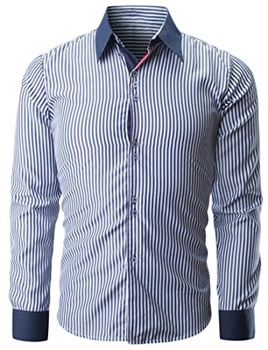 New SYTX Mens Casual Stripe Long Sleeve Custom Fit Button Down Dress Shirts supplier
