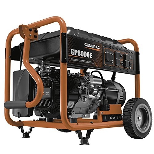 Generac 6954 GP8000E 8,000 Running Watts/10,000 Starting Watts Electric Start Gas Powered Portable Generator - CSA Compliant (Generac Generator Gas)
