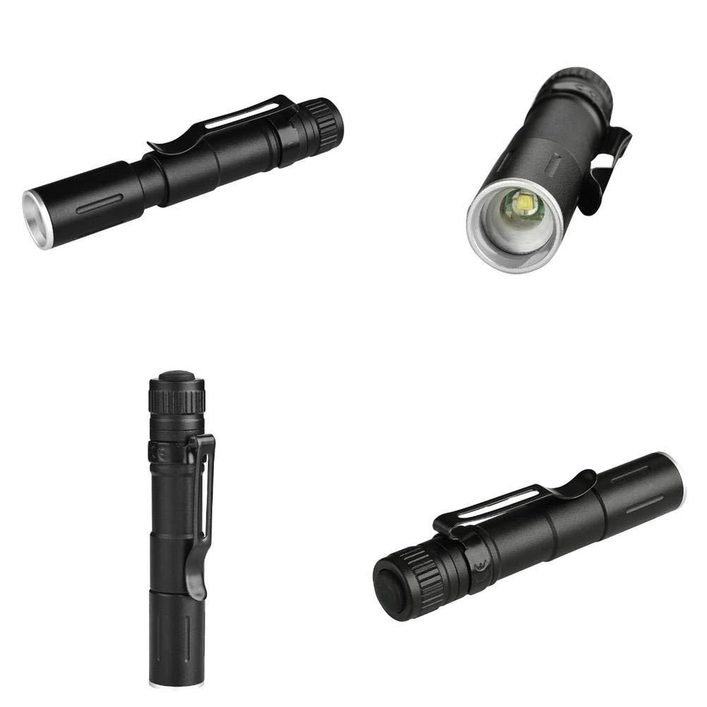 Mini linterna linterna de camping nueva AAA Longitud focal ajustable en forma de bol/ígrafo luz XPE cola prensa 3 marchas EDC peque/ña linterna para caza camping