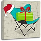 Emvency Canvas Wall Art Print Butterfly Chair Santa Hat and Christmas on Vintage Star Artwork for Home Decor 12 x 12 Inches