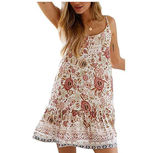 (OEUVRE Women Floral Bohemian Spaghetti Strap V Neck Short Dress Boho Swing Ruffled Beach Dress Beige Size XL)