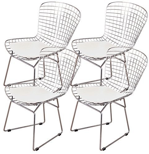 Shise Harry Bertoia Wire Side Chair White (Set of 4). Chromed Wire Frame with Plastic Feet & PU Leather Cushion (White 4 Set) ()